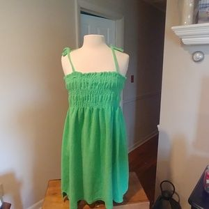 Green Terry Cloth Smocked Dress/Cover Up 2X